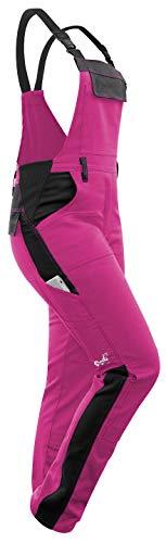 strongAnt - Damen Arbeitshose Arbeits-Latzhose Stretch für Frauen mit Kniepolstertaschen. Baumwolle Kombihose Pink-Schwarz 38