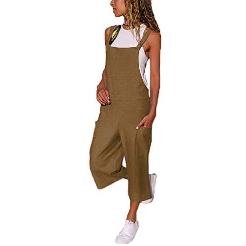Langer Jumpsuit Damen Eleganter Sommer Overall Herbst Jogging Latzhosen Romper Playsuit Hosen Bequeme Qmber,Lockere, lässige Umhängetasche für Overall/Brown,S