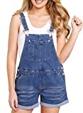 Happy Sailed Damen Kurz Jeanslatzhose Denim Overall Jumpsuit Playsuit Jeans Hosenanzug Romper S-XXL, 3 Blau, X-Large(EU48-50)