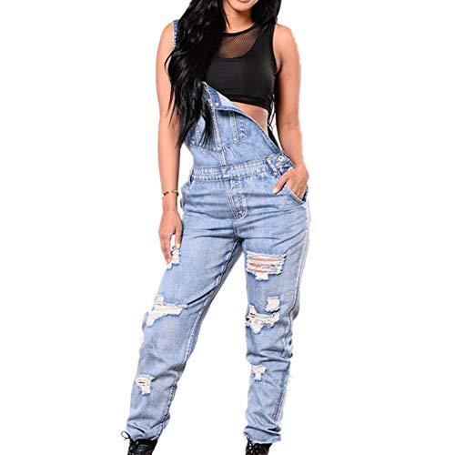 Odot Damen Latzhose Jeans, Taschen Playsuit Lange Hosen Sexy Casual Breite Beine Hosen Loose Denim Baggy Spielanzug Latzjeans Jumpsuit Overalls (XL,Blau)