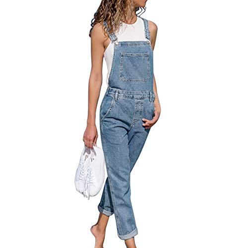 RXLLDOLY Damen Latzhose Retro Jeanshose Trägerhose Hoseanzug Denim Overall Gerades Bein Zerrissen Lang Trägerhose Ärmellos Locker mit Taschen(Blau-1,L)